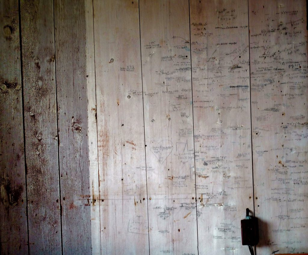A wall of generations in an old cottage: Northumberland Strait, Nova Scotia