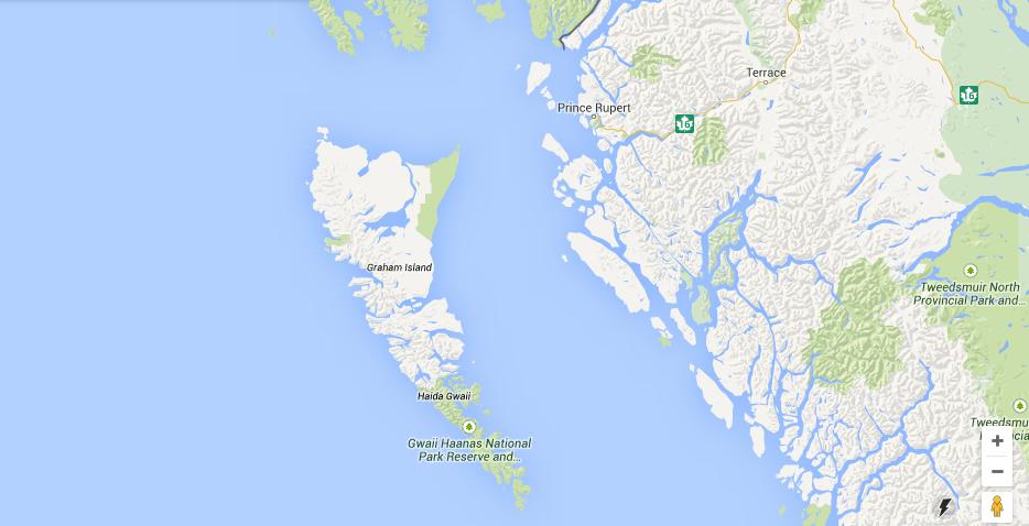 Haida Gwaii is off the northern coast of BC, just south of Alaska.