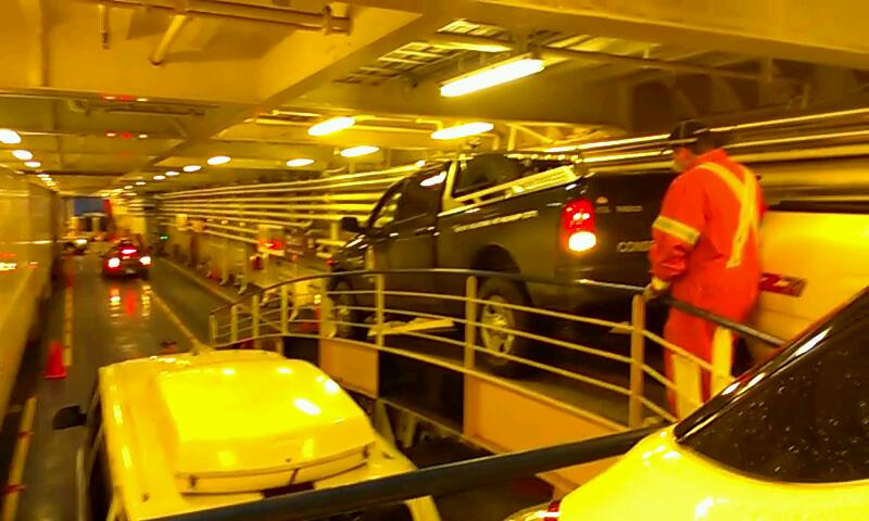 Loading the ferry: backing up to park on the ramp.