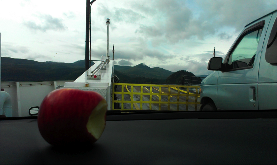 Breakfast on the ferry to Alliford Bay (Sandspit)