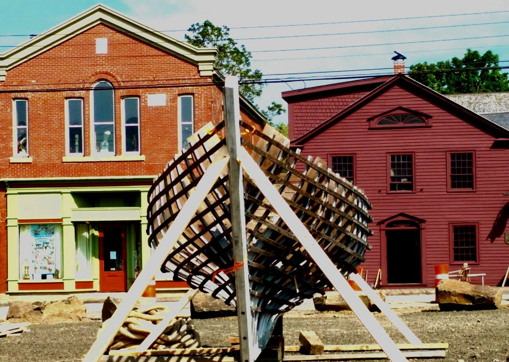 Annapolis Royal, Nova Scotia: public boat-building project on the main street