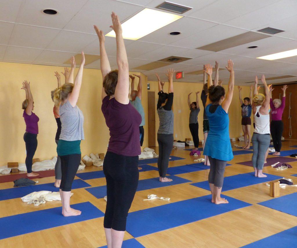 Urdhva Hastasana and stillness; Iyengar Yoga Centre of Victoria